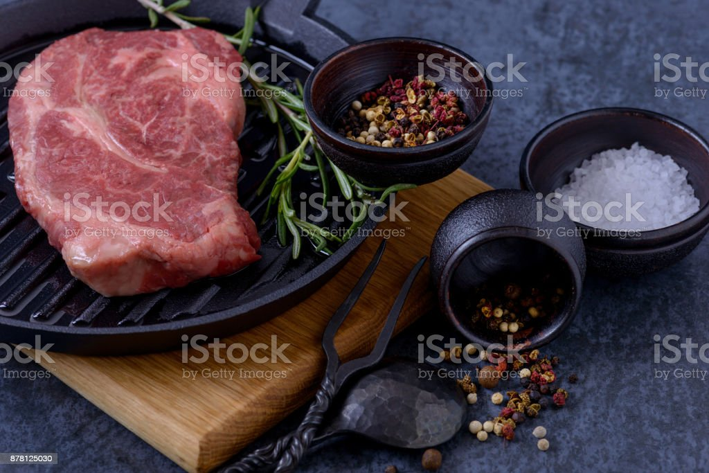 Raw beef steak stock photo