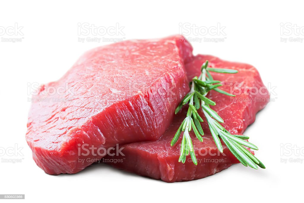 raw beef steak with rosemary stock photo