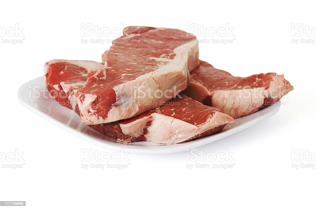 Raw Beef Steaks on a Plate royalty-free stock photo