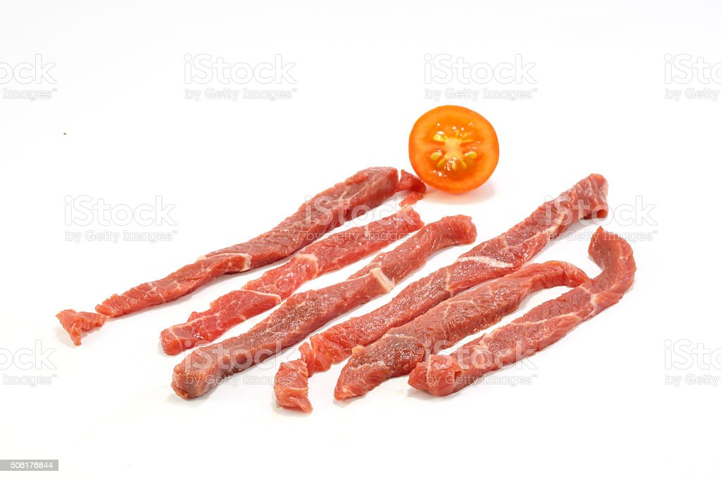 Raw beef strips stock photo