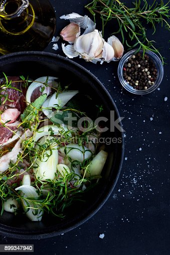 Macro of raw beef and herbs