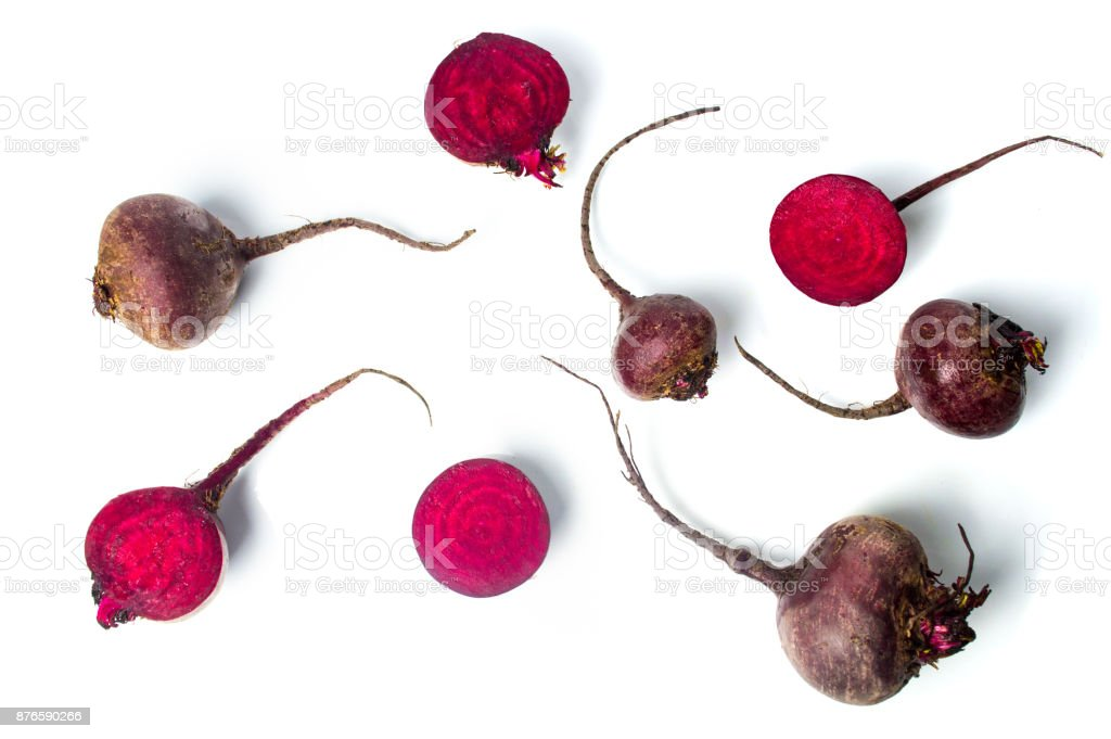 Raw beet isolated on white background stock photo