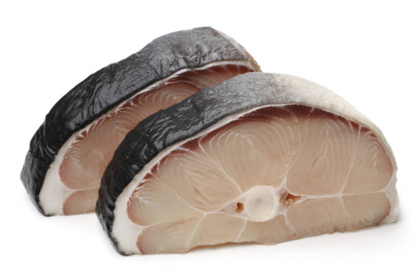 Raw blue shark steaks stock photo