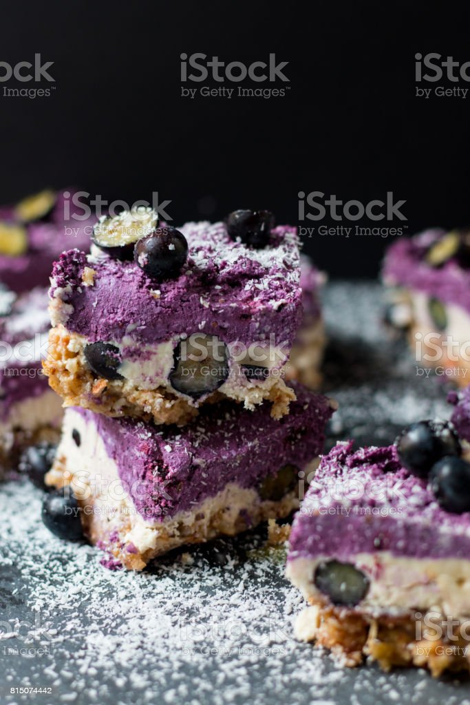 Raw Blueberry Cheesecake stock photo