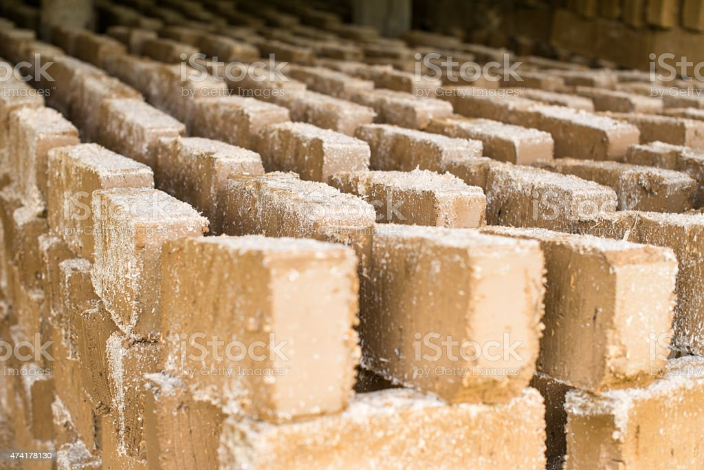 Raw bricks drying in the open air stock photo