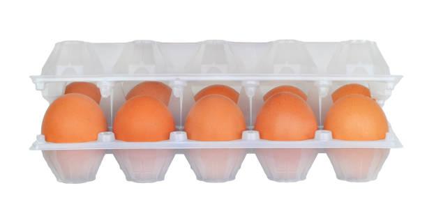 rohe braune hühnereier in halboffene weißen halbtransparenten kunststoffverpackungen isoliert - eierverpackung stock-fotos und bilder