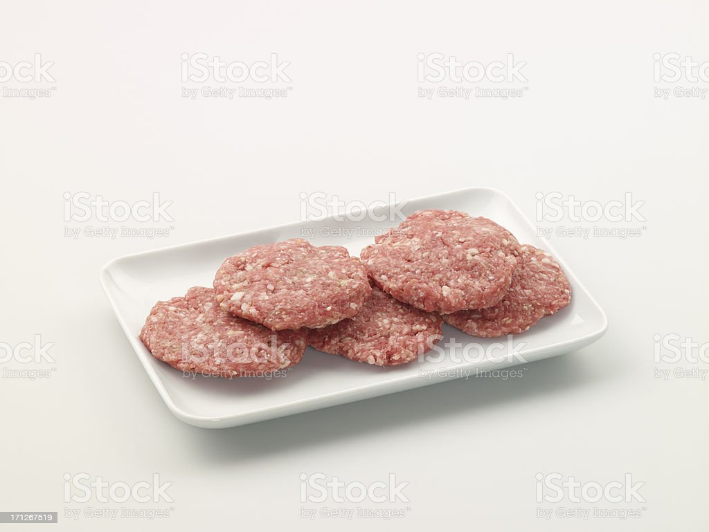 Raw Burger In A White Plate royalty-free stock photo