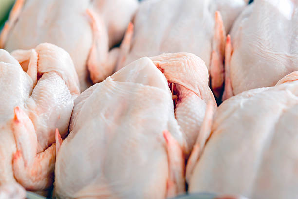 Raw  butchered chicken Raw  butchered chicken in queue poultry stock pictures, royalty-free photos & images