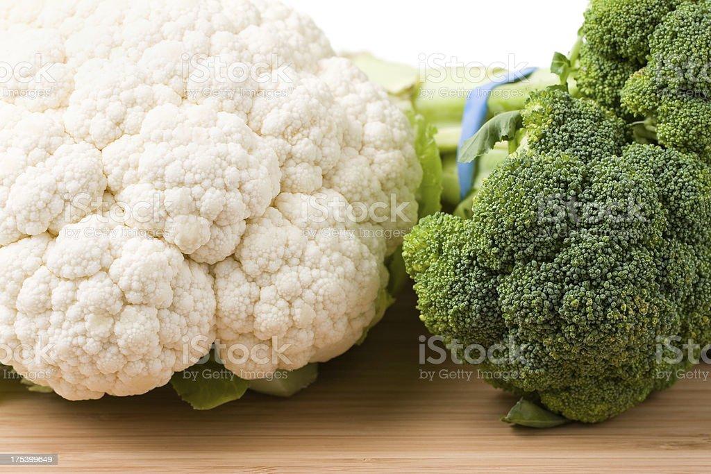 Raw Cauliflower and Broccoli royalty-free stock photo