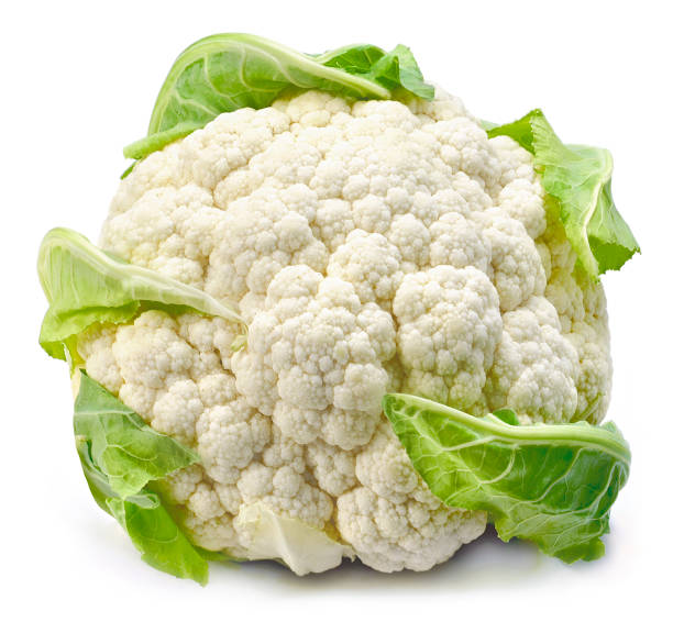 Raw cauliflower, whole vegetable stock photo