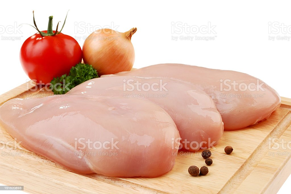 Raw Chicken brests on cutting board royalty-free stock photo