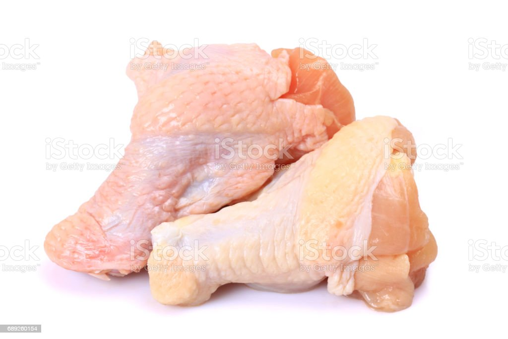 Raw Chicken Drumsticks With Skin On White Background Stock Photo