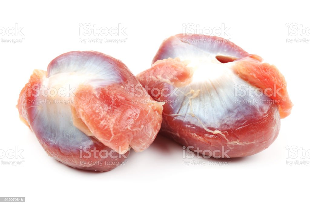 Raw chicken gizzards isolated on white stock photo
