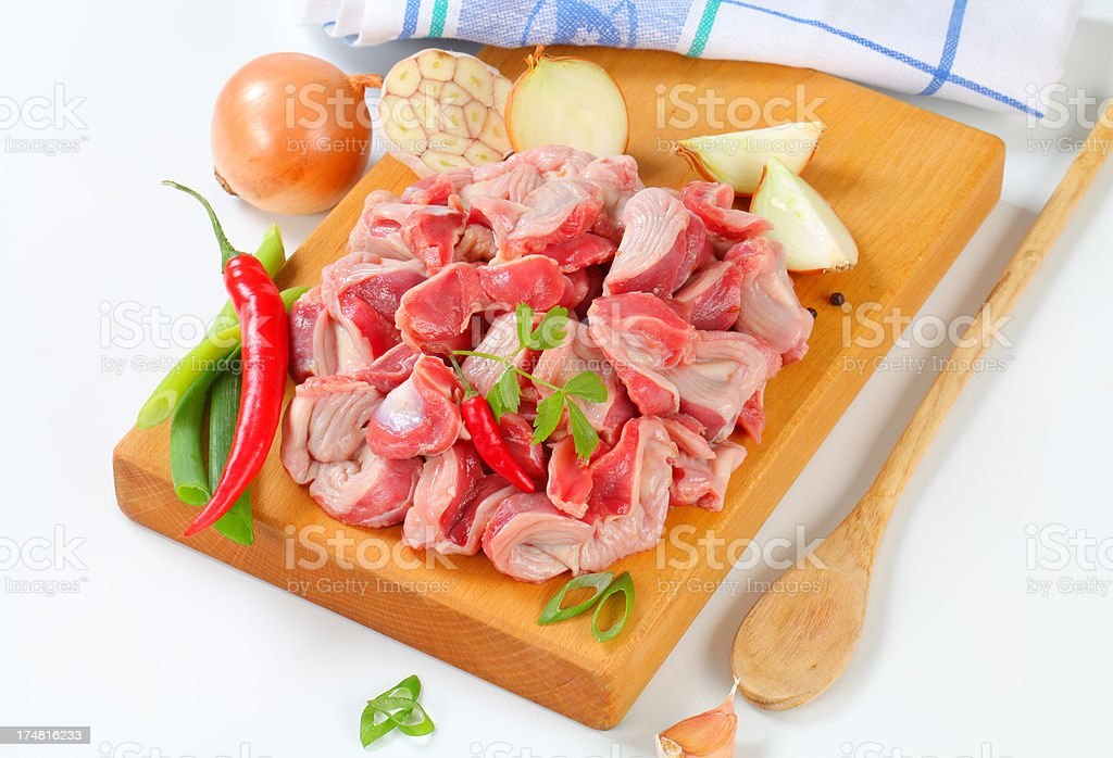 raw chicken gizzards royalty-free stock photo