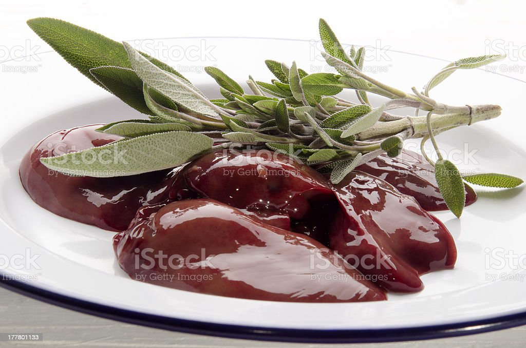 raw chicken liver with sage royalty-free stock photo
