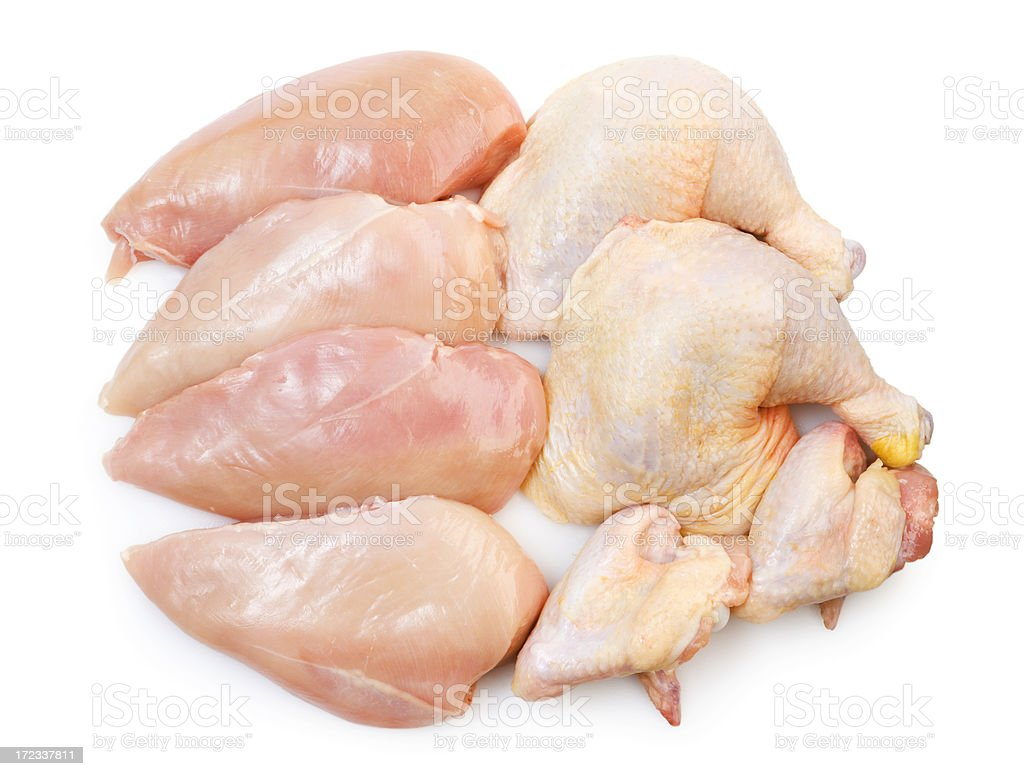 Raw Chicken Pieces, Cut Up Breast, Leg, Wing Meat Portions stock photo