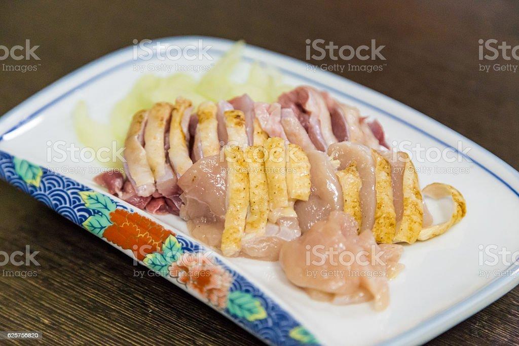 Raw chicken sashimi stock photo