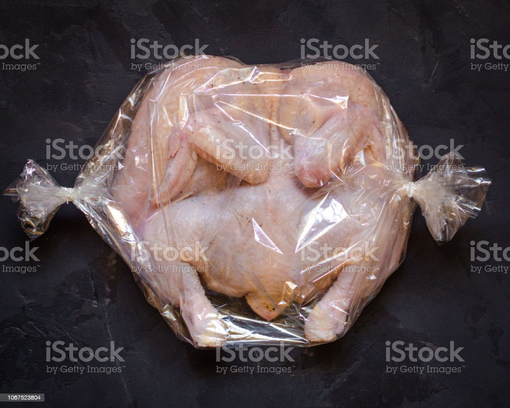 raw chicken - whole roasted chicken (chicken meat). Top view with copy space stock photo