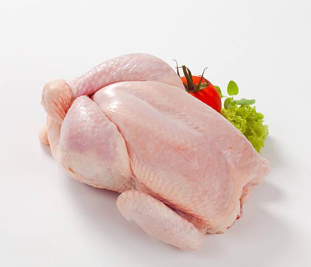 Raw frango com tomate - foto de acervo