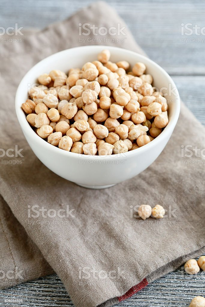 Raw chickpeas in a white bowl stock photo
