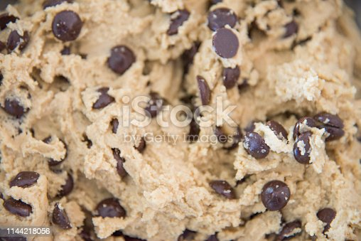 Full frame background of raw chocolate chip cookie dough.