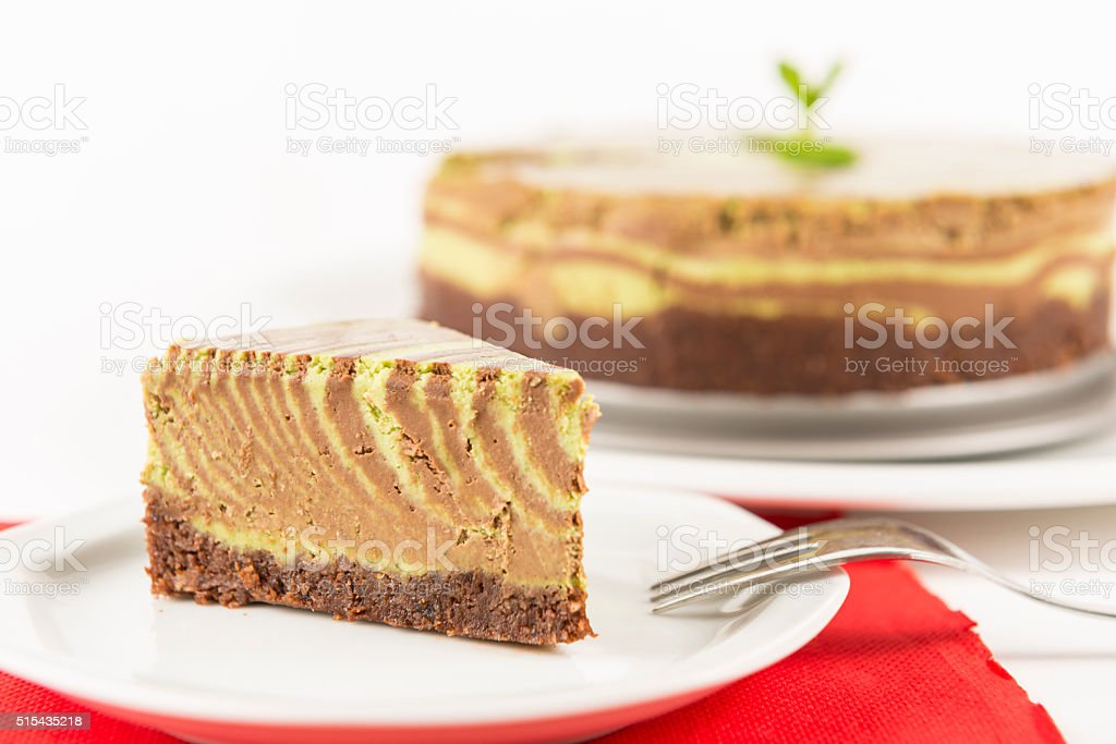 Raw chocolate mint cake stock photo