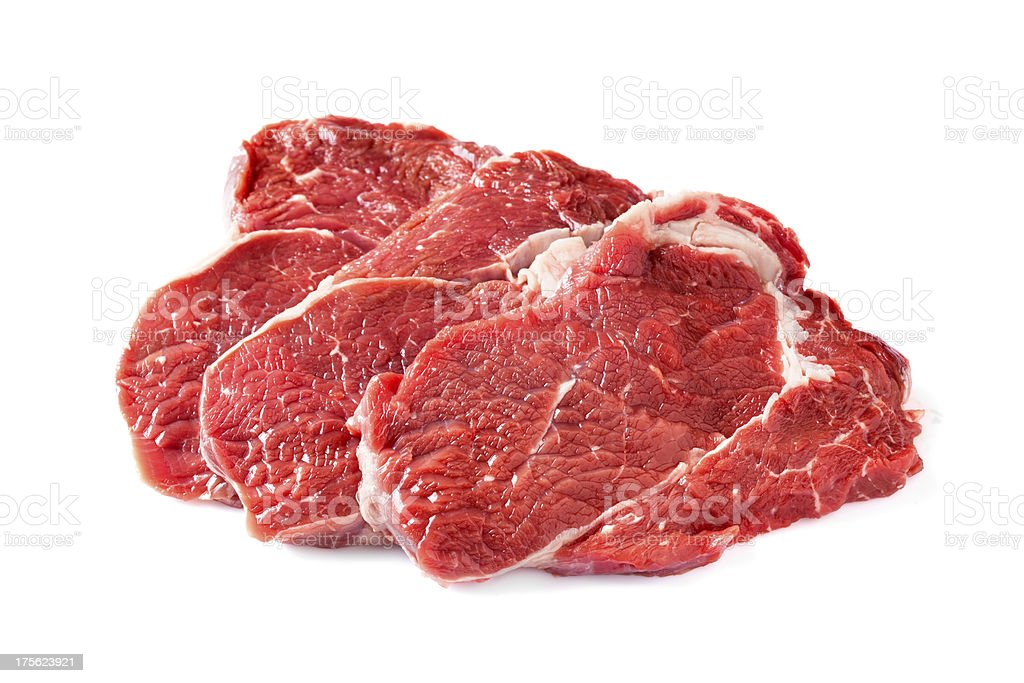 Raw chuck steaks stock photo