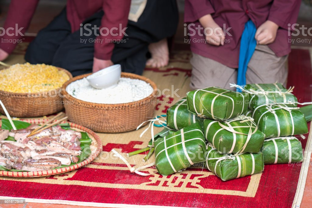 Raw Chung cake, the most important food of Vietnamese lunar new year Tet stock photo