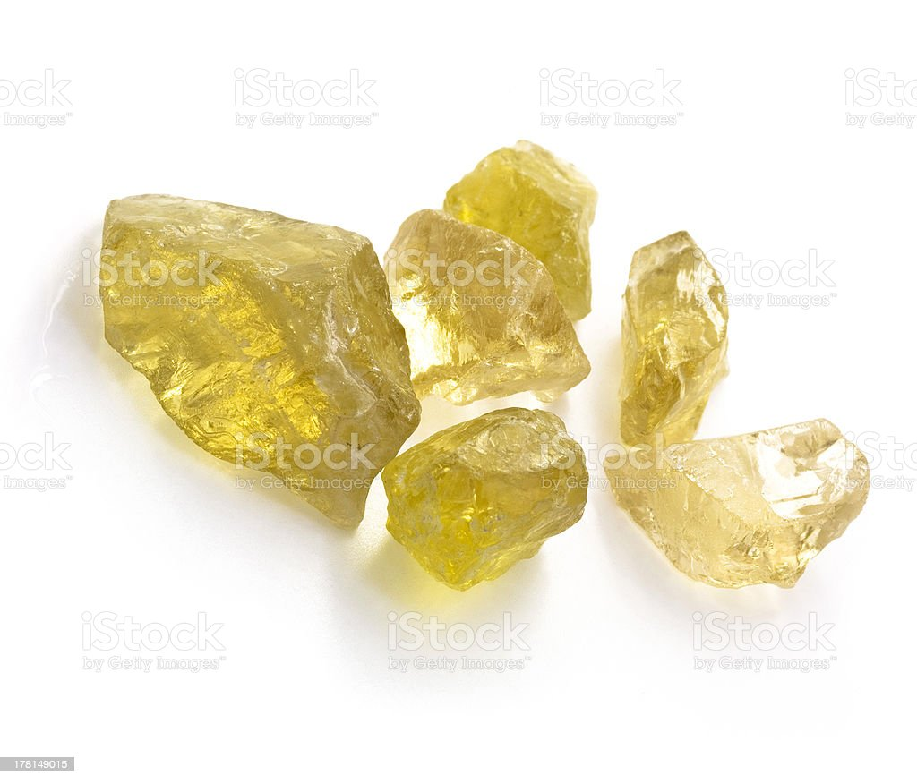 Raw citrines on white background. royalty-free stock photo
