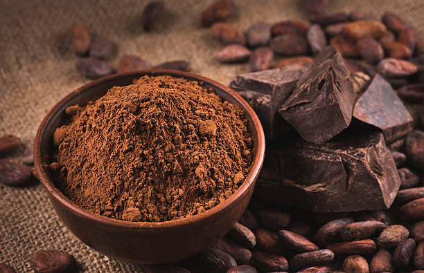 Raw cocoa beans,  powder, chocolate stock photo