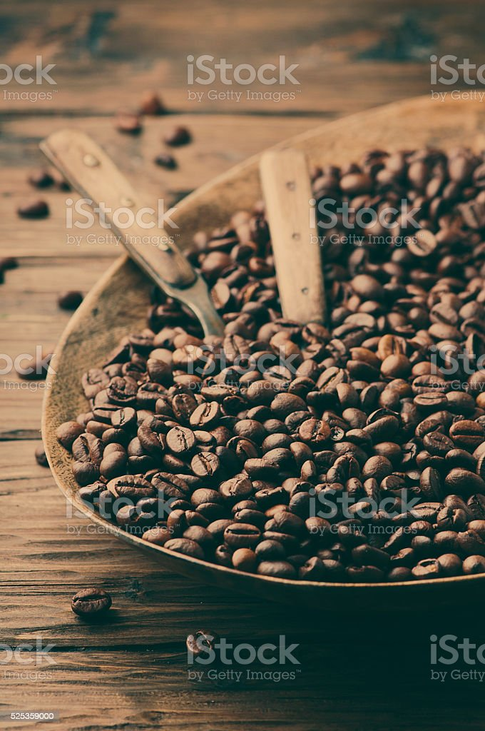 Raw Coffee Beans On The Wooden Table Stock Photo - Download Image Now