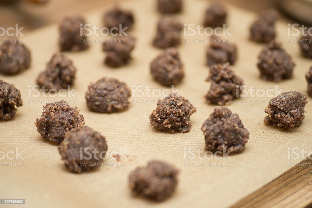 raw cookies on Baking paper stock photo