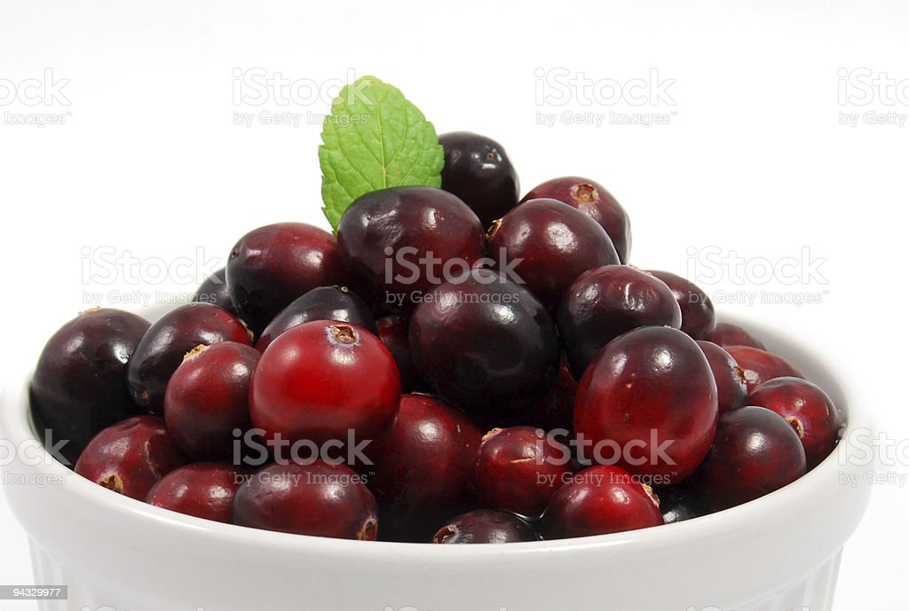 Raw Cranberry with Mint royalty-free stock photo