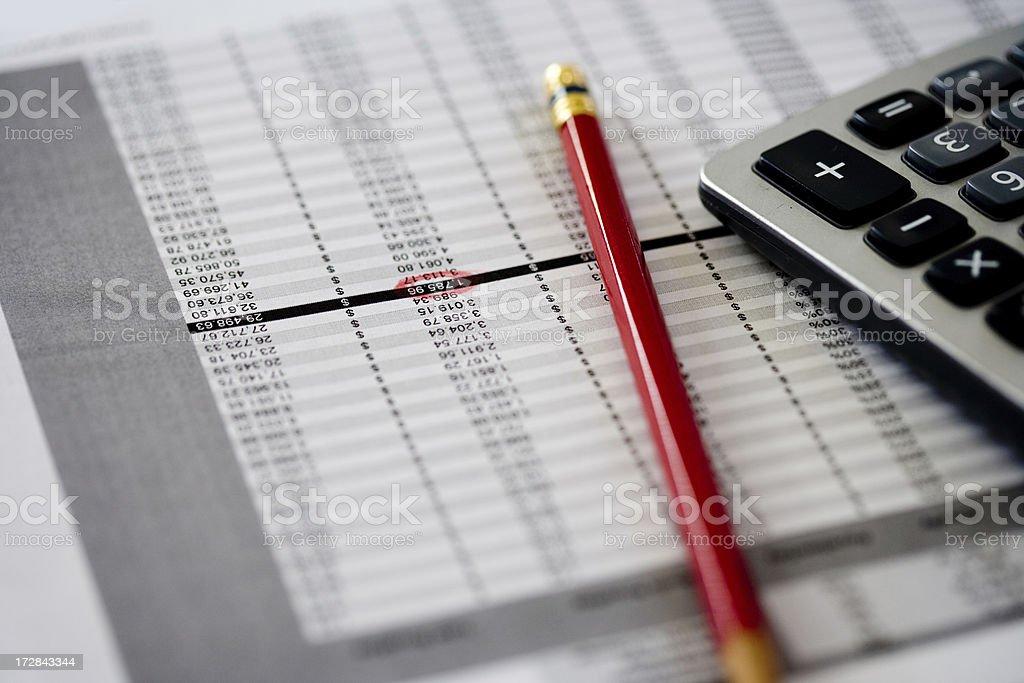 raw data on a spreadsheet royalty-free stock photo