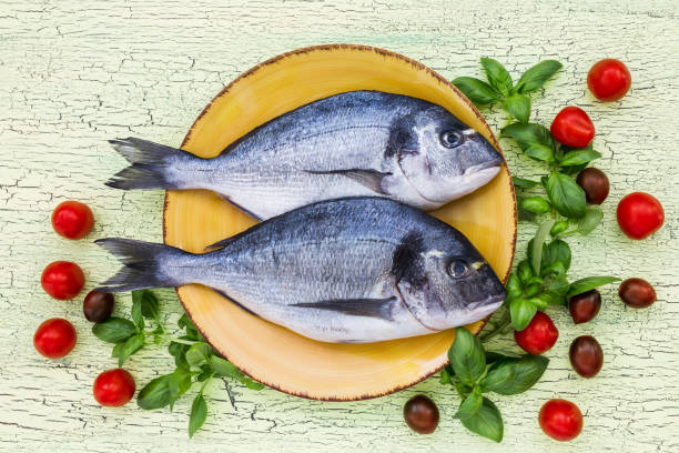 raw dorado fish on yellow plate with basil and tomatoes on green table. top view, copy space. - cod liver oil stock photos and pictures