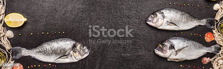 496065234istockphoto Raw dorado fish with fishing net ,banner for website 470825106