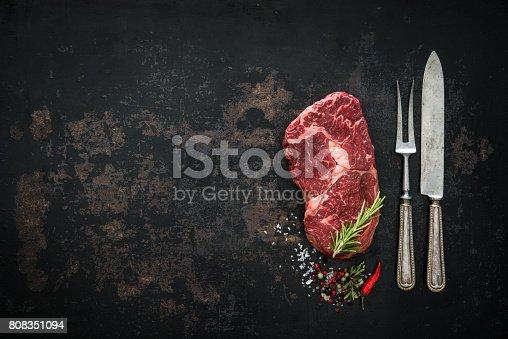 808351106istockphoto Raw dry aged beef ribeye steak 808351094