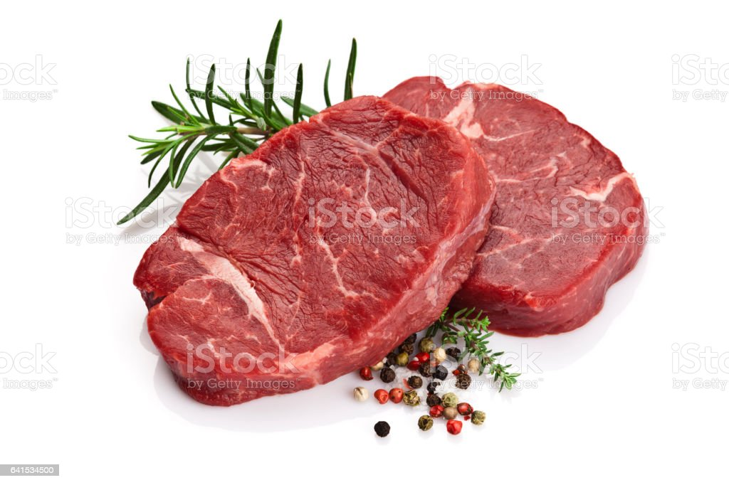 Raw filet mignon isolated on white background stock photo