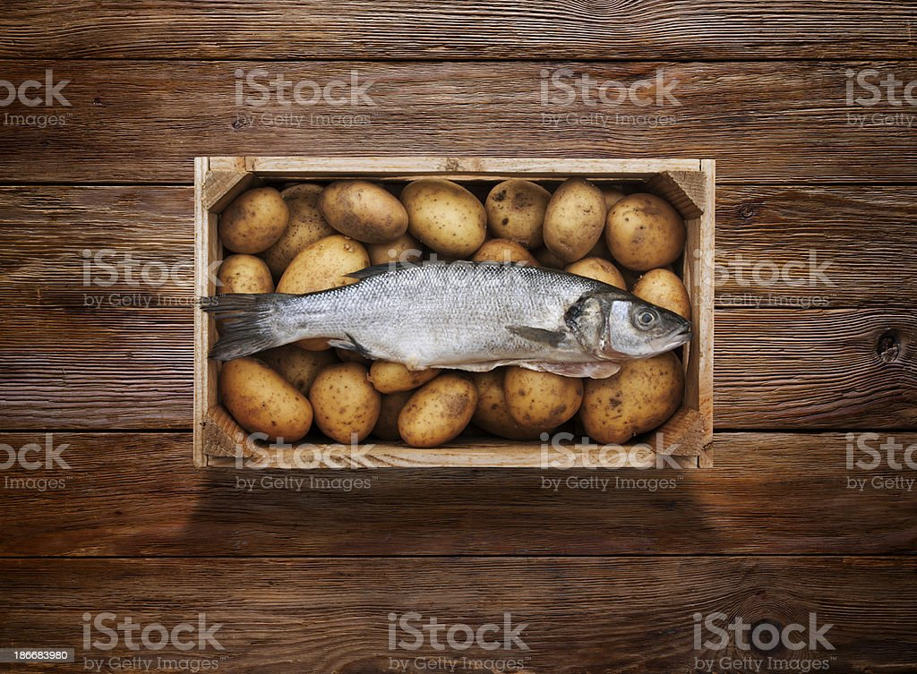 Raw Fish and Chips on Wooden Background royalty-free stock photo