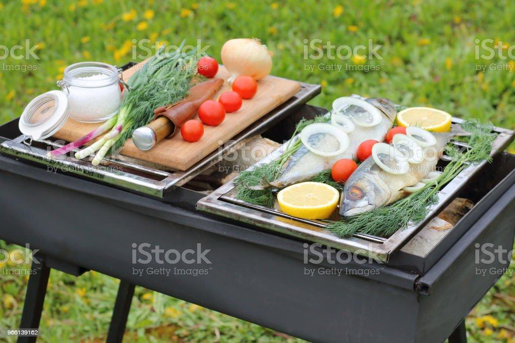 Rauwe vis voor het koken. - Royalty-free Avondmaaltijd Stockfoto