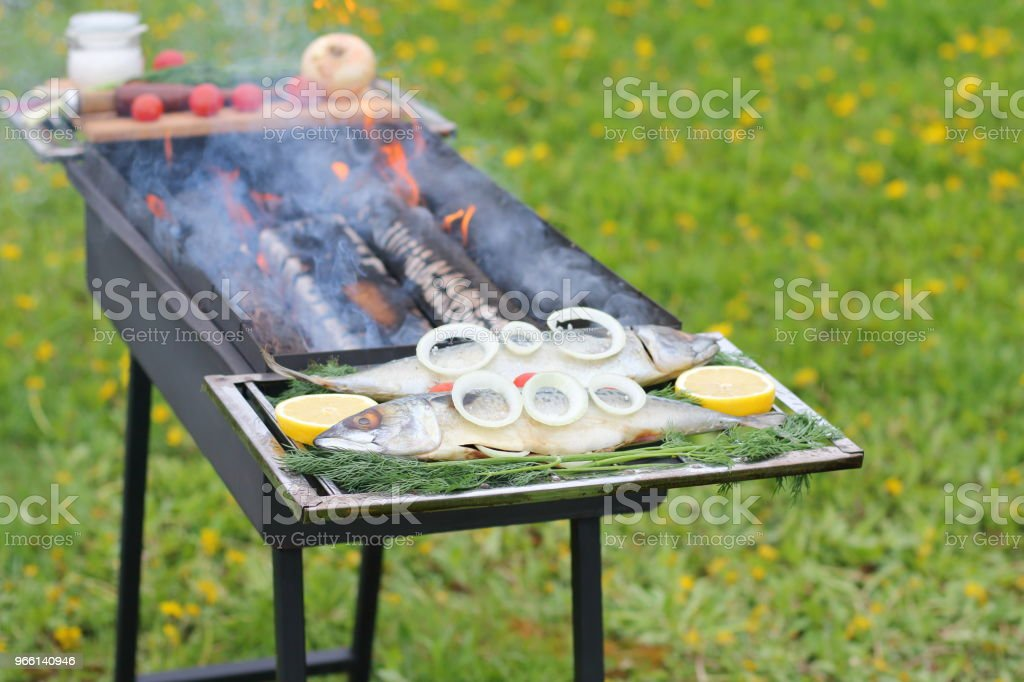Raw fish before cooking. - Royalty-free Barbecue - Meal Stock Photo