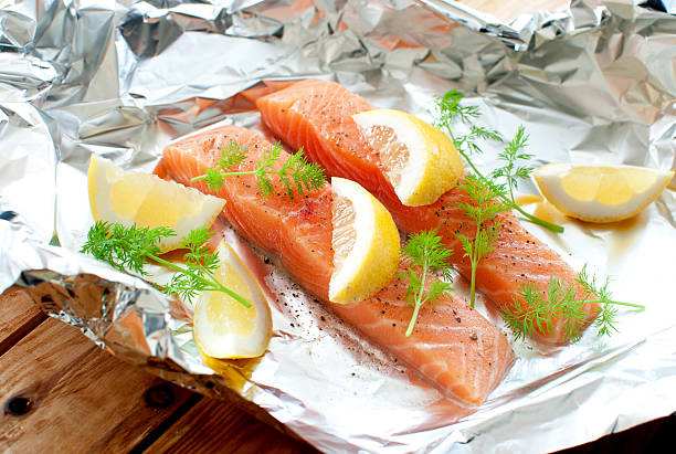 Raw fish fillets stock photo