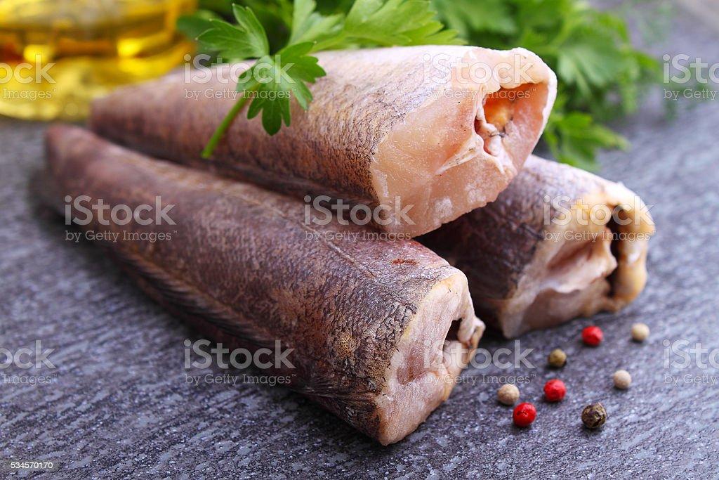 raw fish hake stock photo