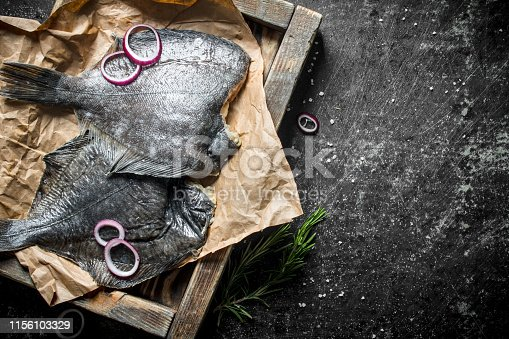 Raw fish on tray with garlic, chopped onion and rosemary. On dark rustic background