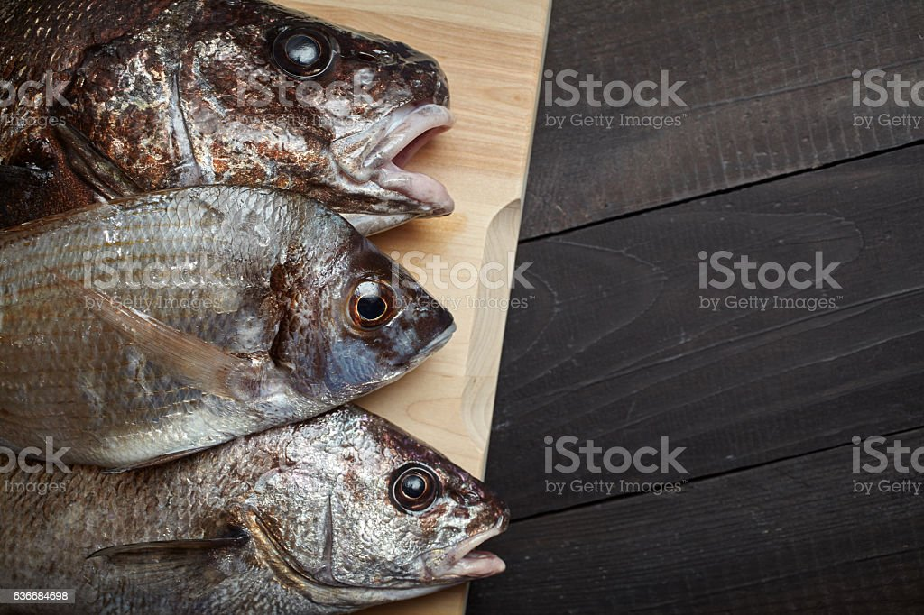 Raw fish on wooden cutting board stock photo