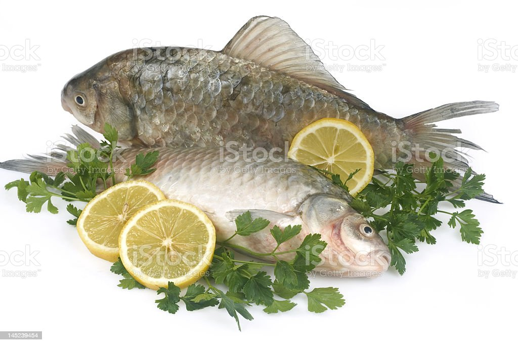 Raw fish with lemon and parsley royalty-free stock photo