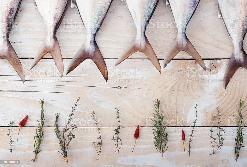 Raw fish, Yellowtail, in a row stock photo