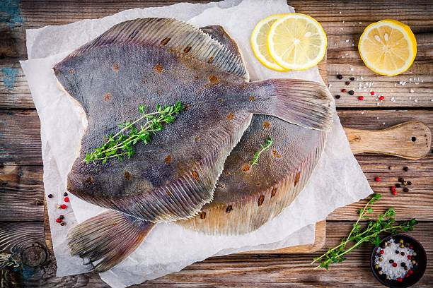 raw flounder fish, flatfish on wooden table - rodaballo fotografías e imágenes de stock
