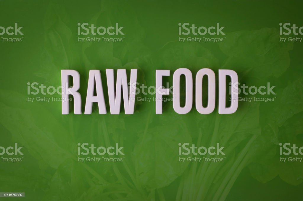 Raw food lettering sign stock photo