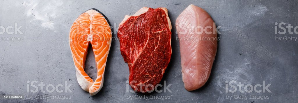Raw food Salmon oily fish steak, beef meat and turkey breast on gray...